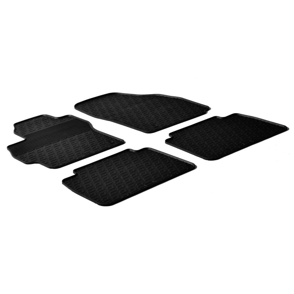 WHITE TRIM Car Floor Mats Clips SEAT LEON 09-12 Tailored Black