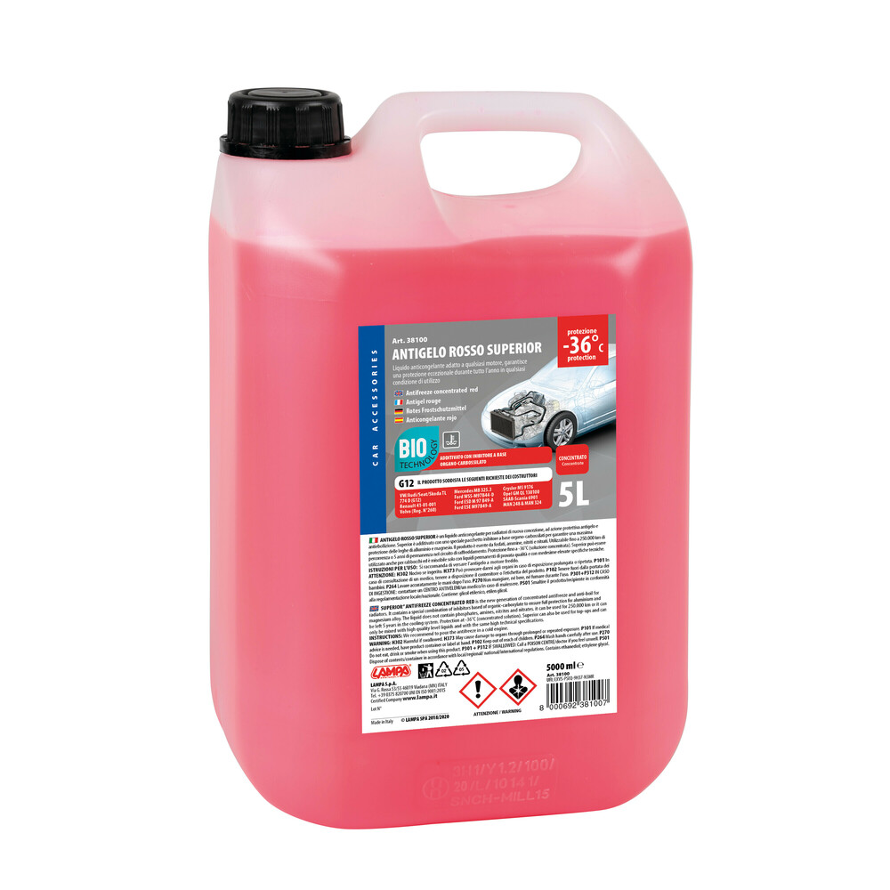 Superior-Rosso, liquido antigelo concentrato - 5000 ml