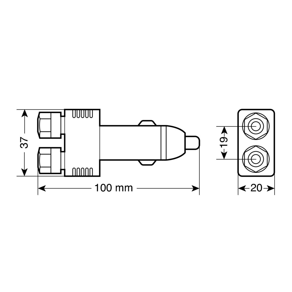 Cigarette lighter plug with quick connectors, 12/24V