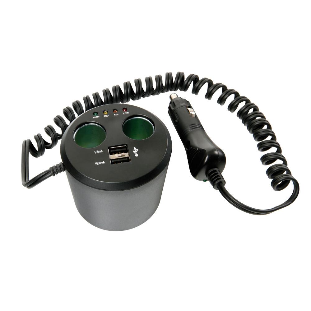 Power Cup 3 in 1 presa corrente multipla e tester batteria auto 12V+USB
