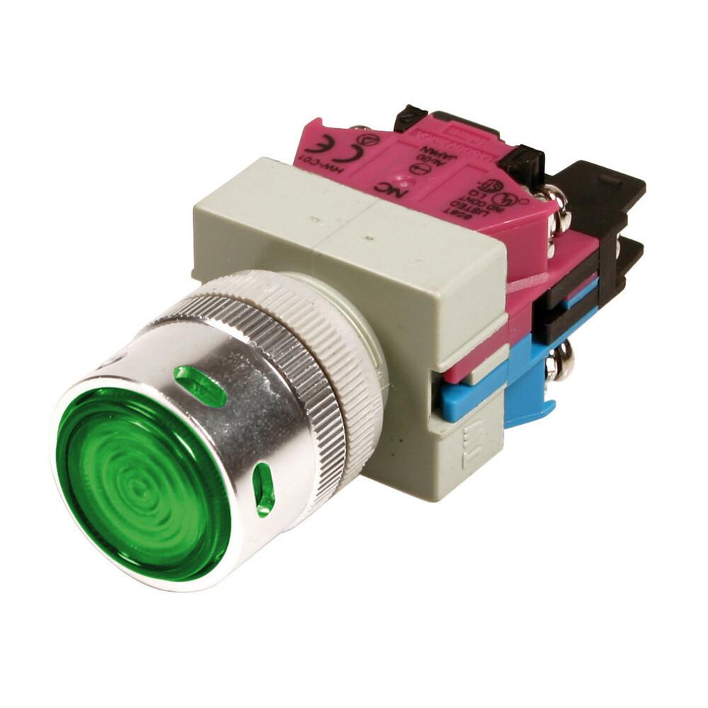 Interruttore a pulsante - 12V - Verde - 10A