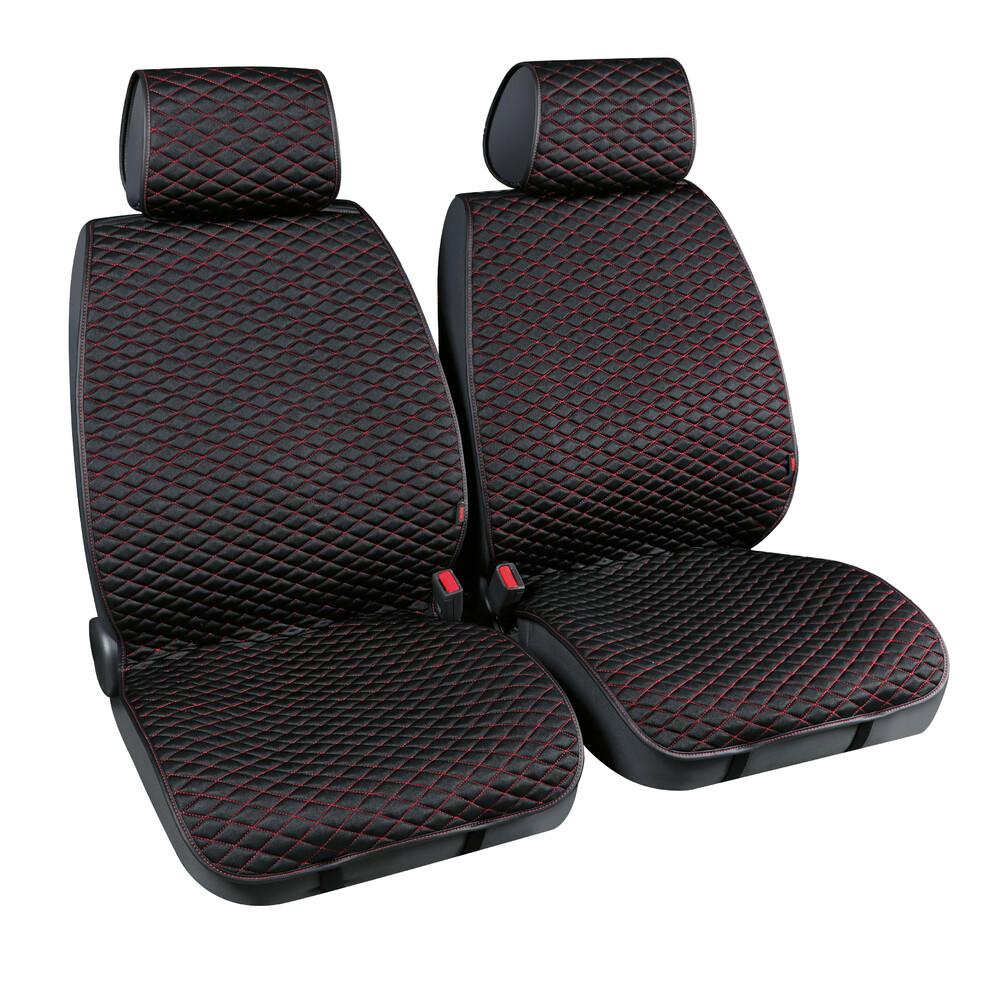Cover-Tech Fabric, coppia coprisedili anteriori in tessuto tecnico - Nero/Rosso