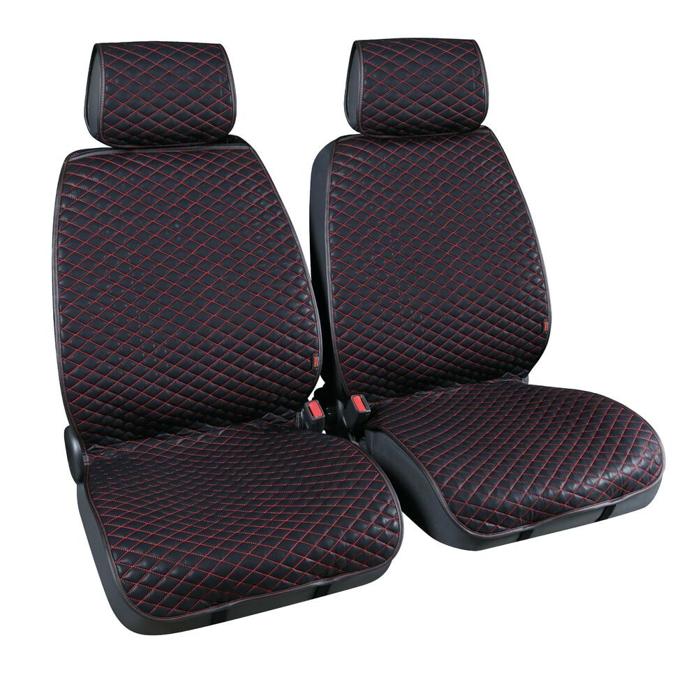 Cover-Tech Leatherette, coppia coprisedili anteriori in similpelle - Nero/Rosso