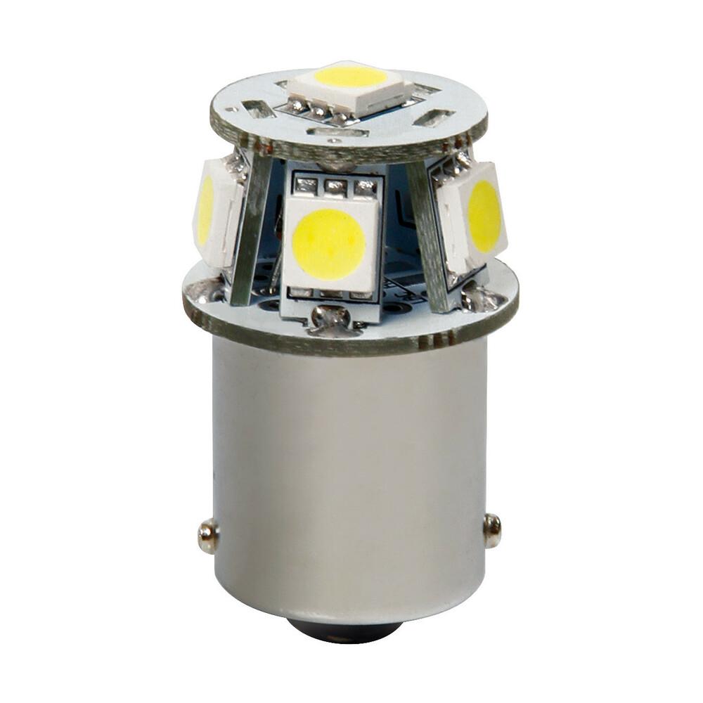 12V Hyper-Led 18 - 6 SMD x 3 chips - (P21W) - BA15s - 1 pz  - D/Blister - Bianco - Doppia polarità