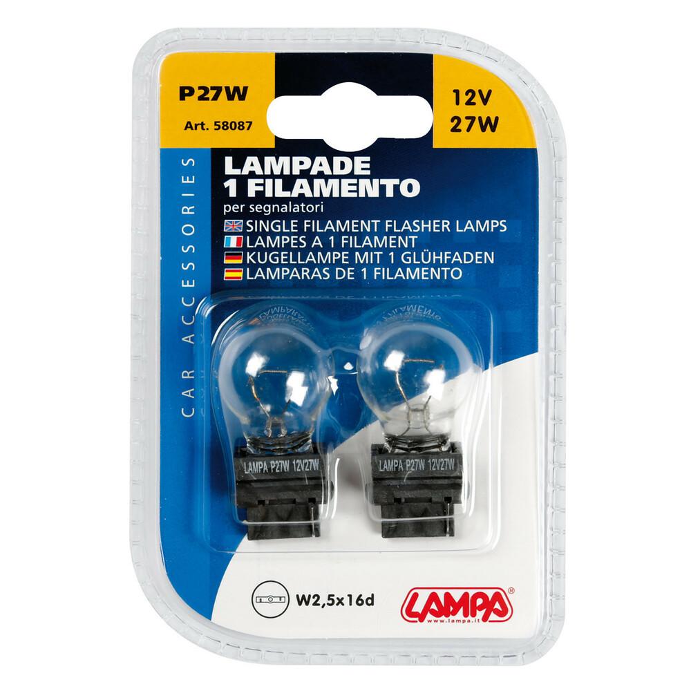 LAMPADINE 12V 1 FILAMENTO P27W 27W W2,5X16D 2 PZ LAMPADE PER AUTO ILLUMINAZIONE