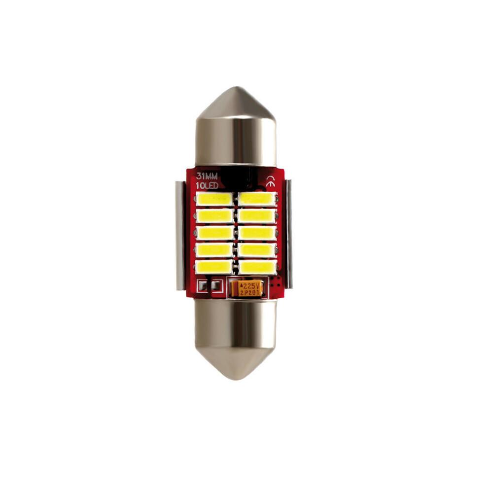 10-30V Mega-Led 10 - 10 SMD x 1 chip - 12x31 mm - SV8,5-8 - 1 pz  - D/Blister - Bianco - Doppia polarità - Resistenza incorporat