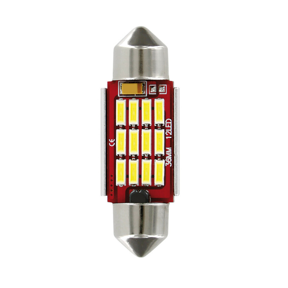 10-30V Mega-Led 12 - 12 SMD x 1 chip - (C5W-C10W) - 12x36 mm - SV8,5-8 - 1 pz  - D/Blister - Bianco - Doppia polarità - Resisten