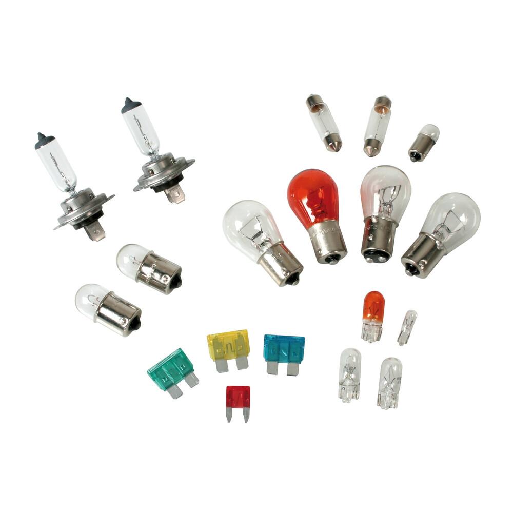 Kit lampade di ricambio 19 pz, alogena 2x H7 - 12V