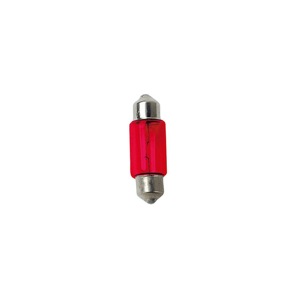 12V Lampada siluro - 11x31 mm - 10W - SV8,5-8 - 2 pz  - D/Blister - Rosso