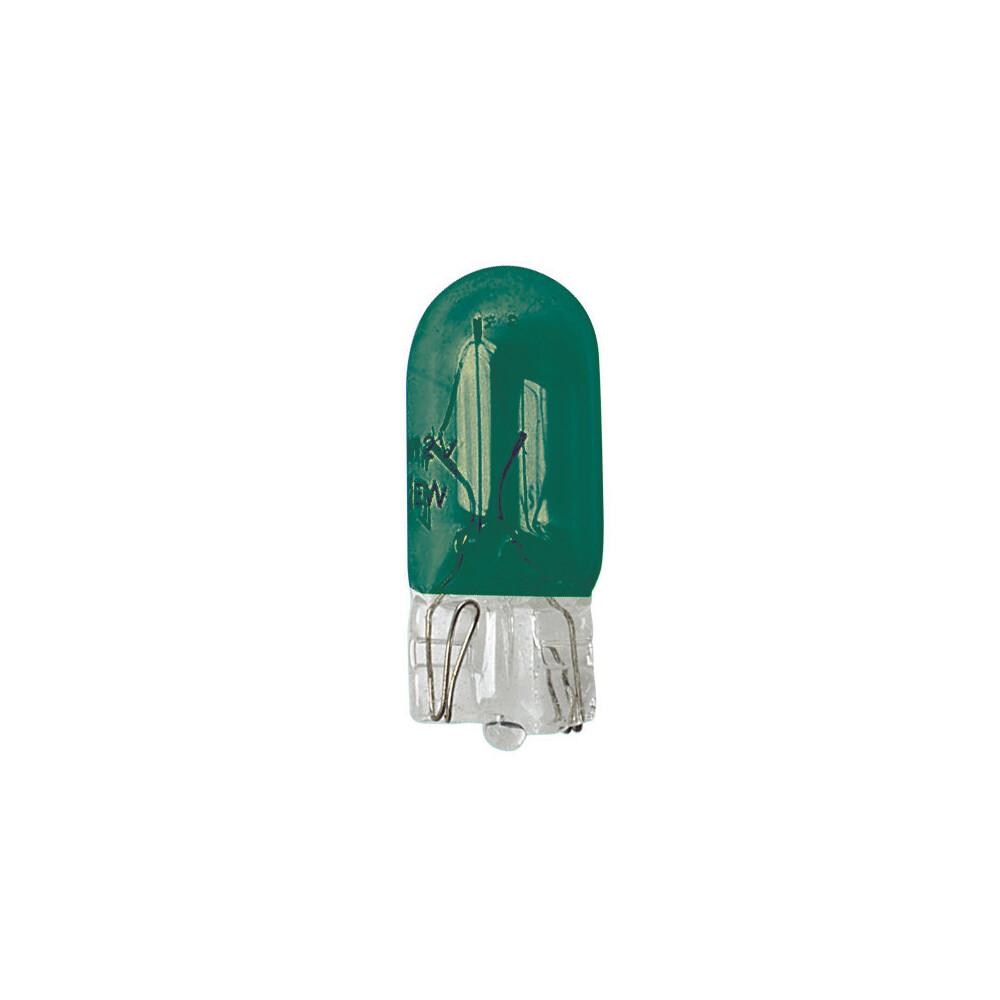 12V Lampada con zoccolo vetro - (W5W) - 5W - W2,1x9,5d - 2 pz  - D/Blister - Verde