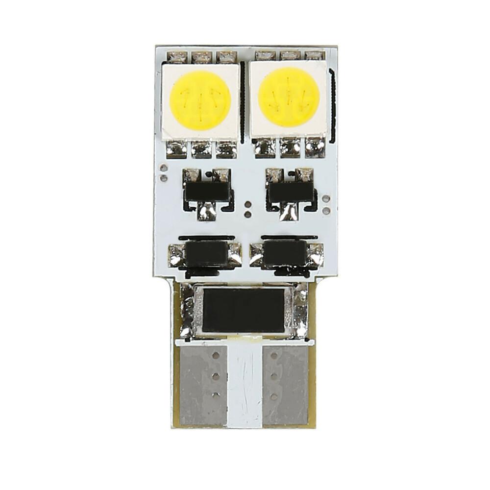 12V Hyper-Led 12 - 4 SMD x 3 chips - (T10) - Bifocus - W2,1x9,5d - 2 pz  - D/Blister - Bianco - Doppia polarità - Resistenza inc