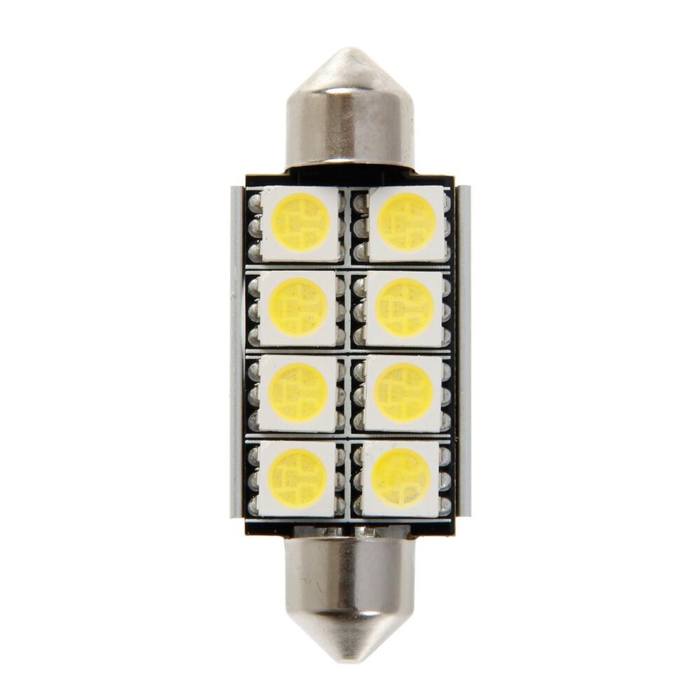 12V Hyper-Led 24 - 8 SMD x 3 chips - 15x42 mm - SV8,5-8 - 1 pz  - D/Blister - Bianco - Doppia polarità - Resistenza incorporata