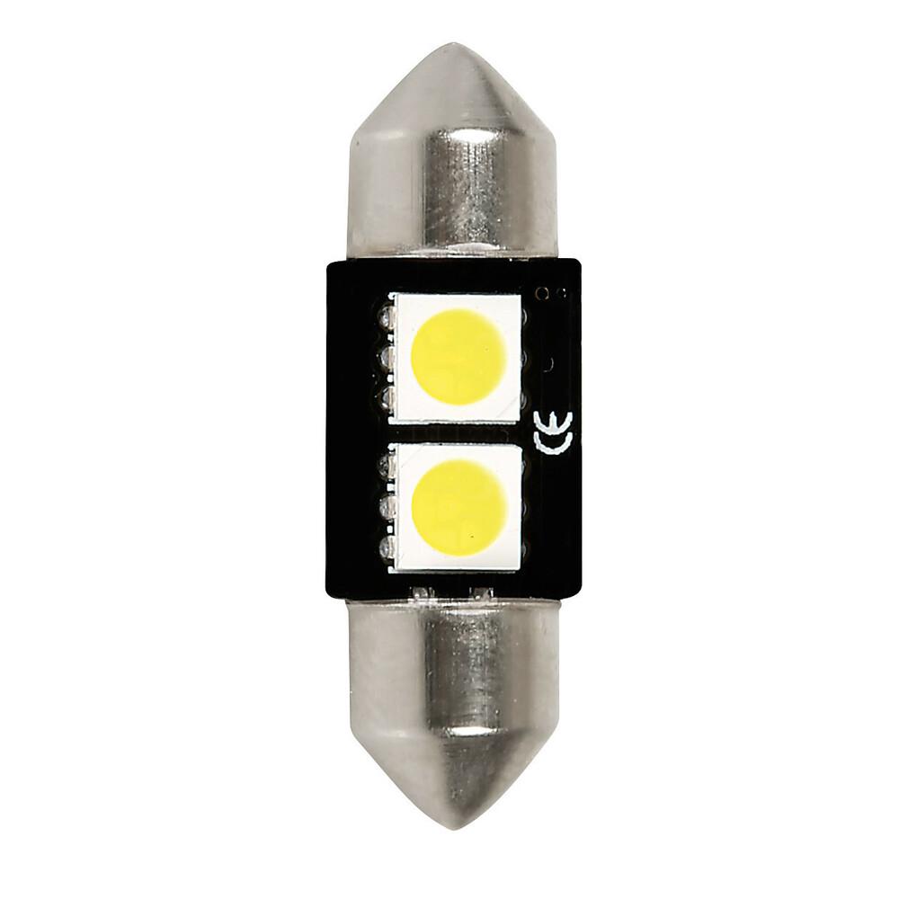 12V Hyper-Led 6 - 2 SMD x 3 chips - 10x32 mm - SV8,5-8 - 1 pz  - D/Blister - Bianco - Doppia polarità - Resistenza incorporata