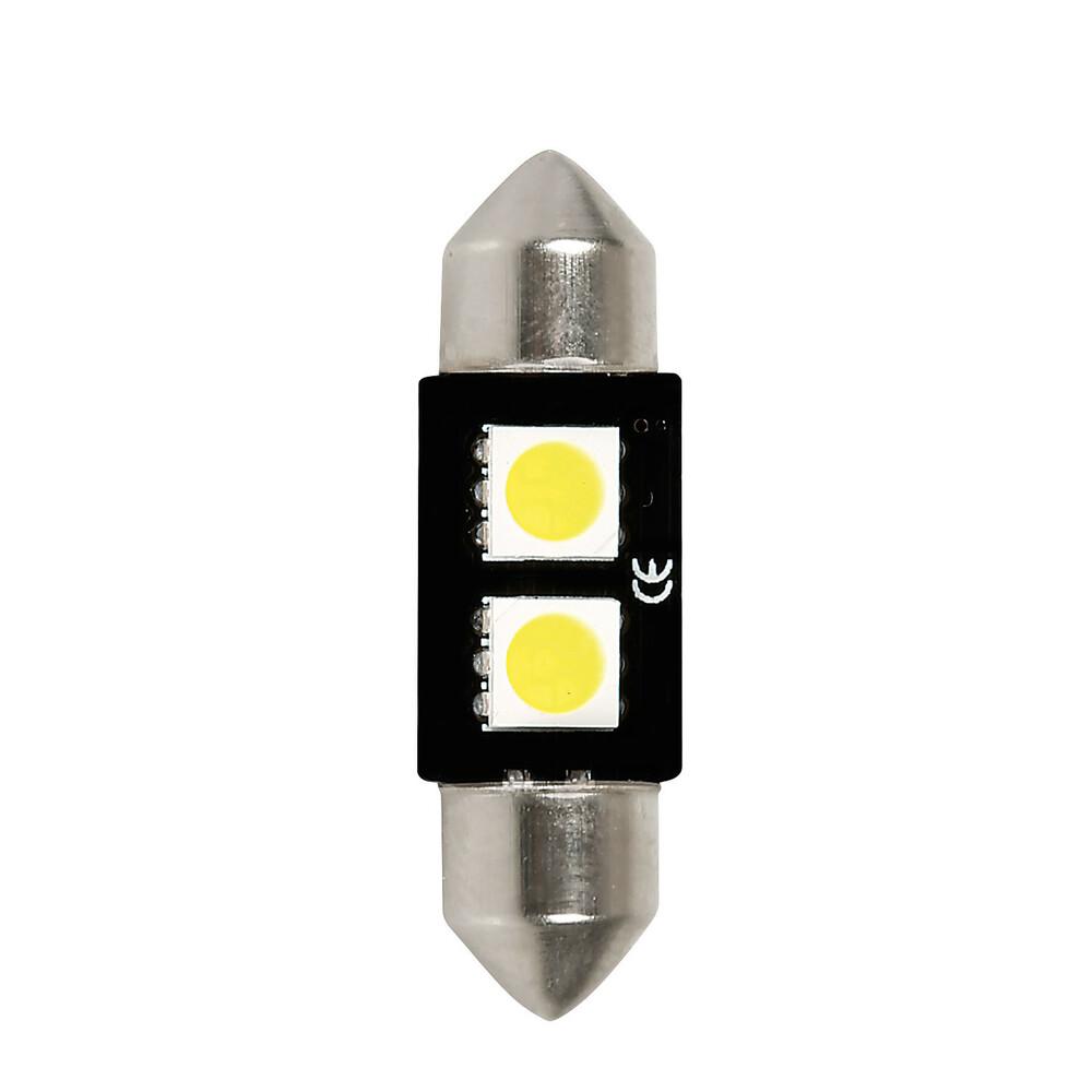 12V Hyper-Led 6 - 2 SMD x 3 chips - (C5W) - 10x36 mm - SV8,5-8 - 1 pz  - D/Blister - Bianco - Doppia polarità - Resistenza incor