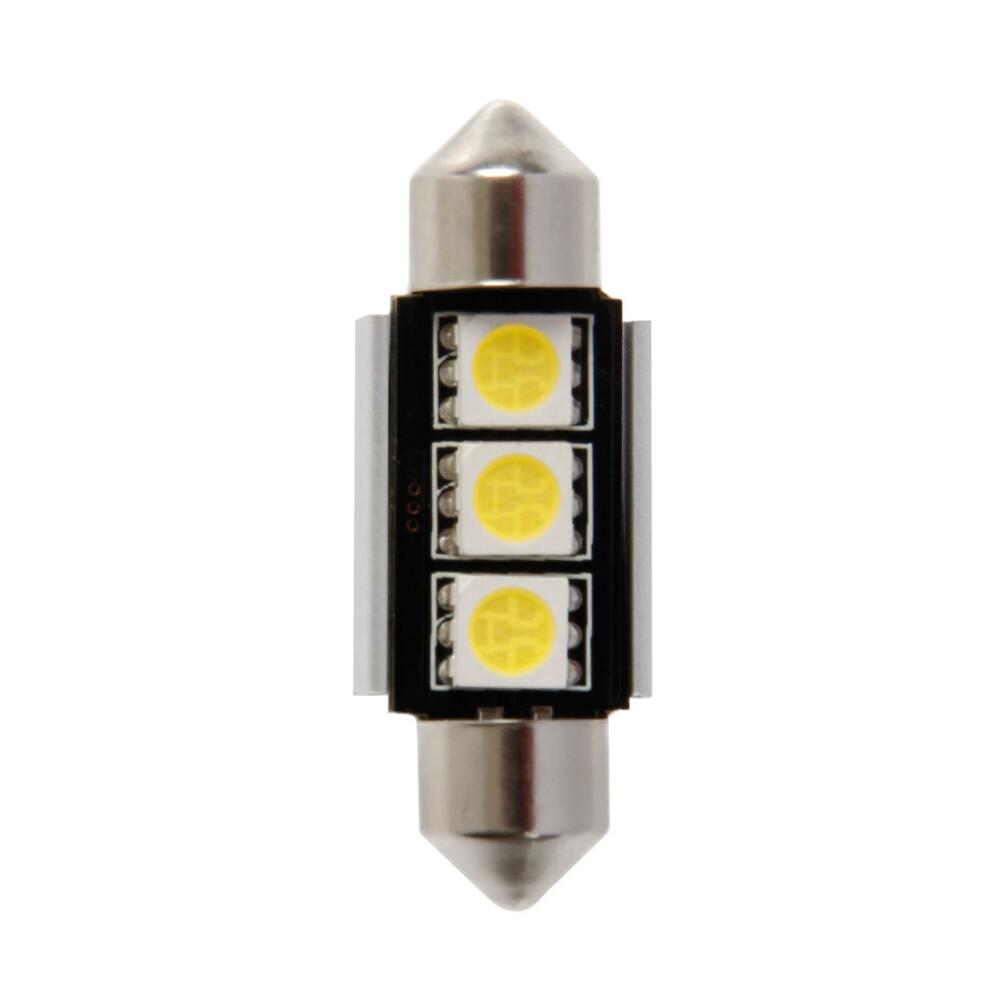 12V Hyper-Led 9 - 3 SMD x 3 chips - (C5W) - 10x36 mm - SV8,5-8 - 1 pz  - D/Blister - Bianco - Doppia polarità - Resistenza incor