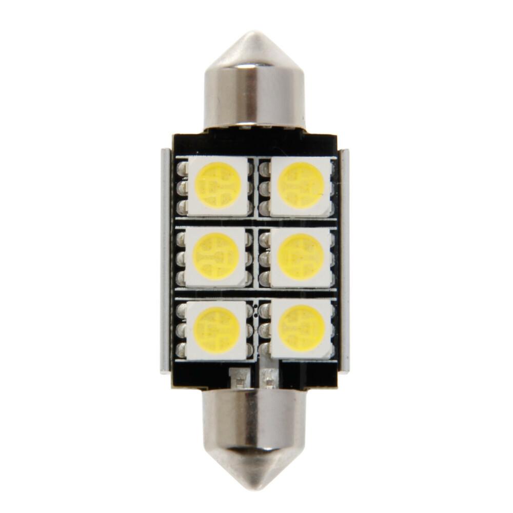 12V Hyper-Led 18 - 6 SMD x 3 chips - 15x36 mm - SV8,5-8 - 1 pz  - D/Blister - Bianco - Doppia polarità - Resistenza incorporata