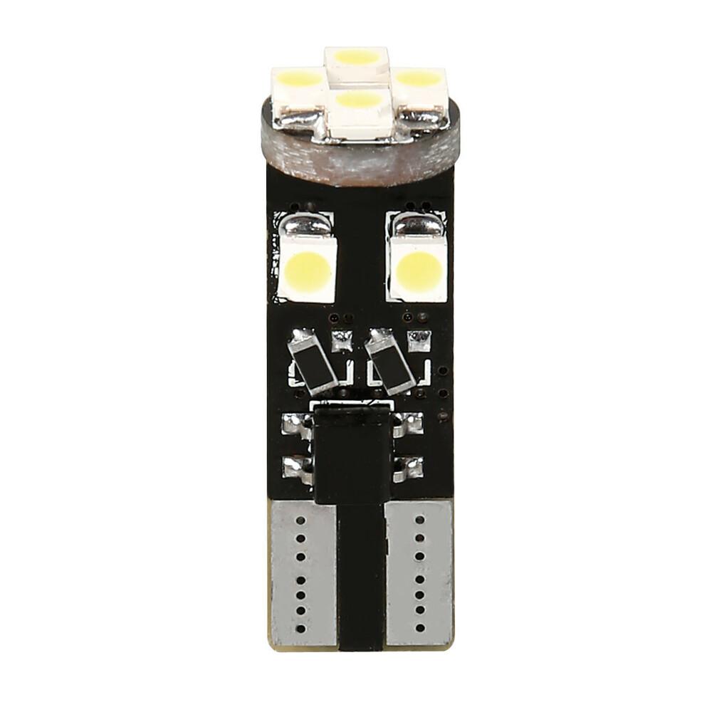 12V Hyper-Led 24 - 8 SMD x 3 chips - (T10) - Trifocus - W2,1x9,5d - 2 pz  - D/Blister - Bianco - Doppia polarità - Resistenza in