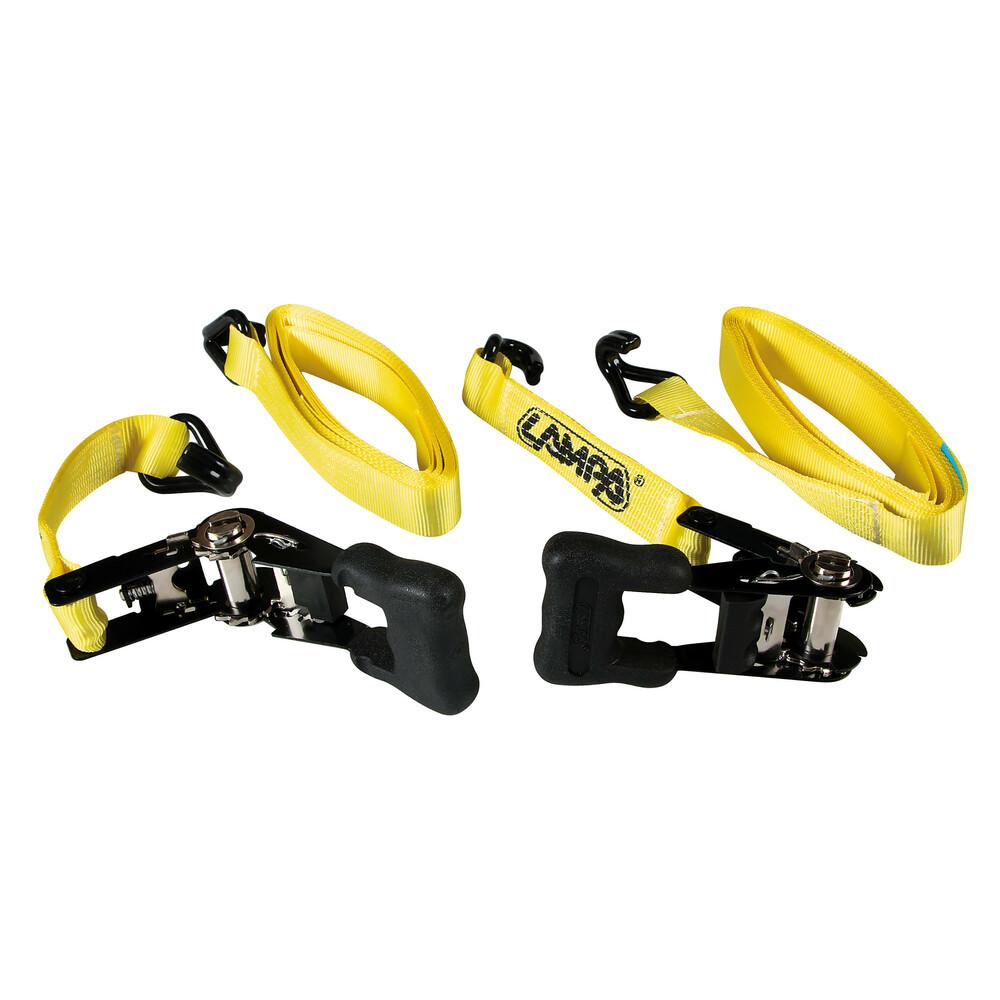 Pro-Safe, set 2 nastri tensori con cricchetto a doppio gancio - 5 m
