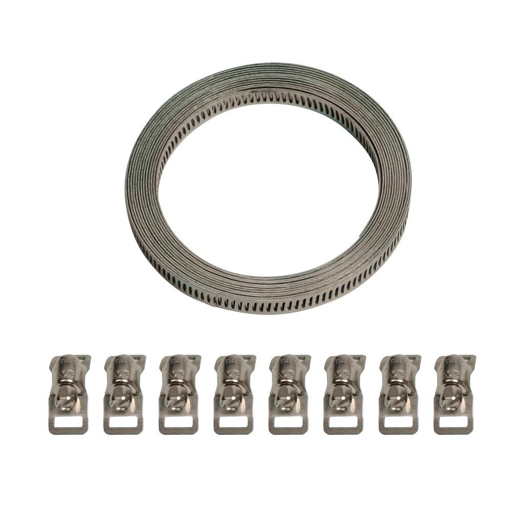 Kit nastro acciaio con 8 morsetti - 300 cm