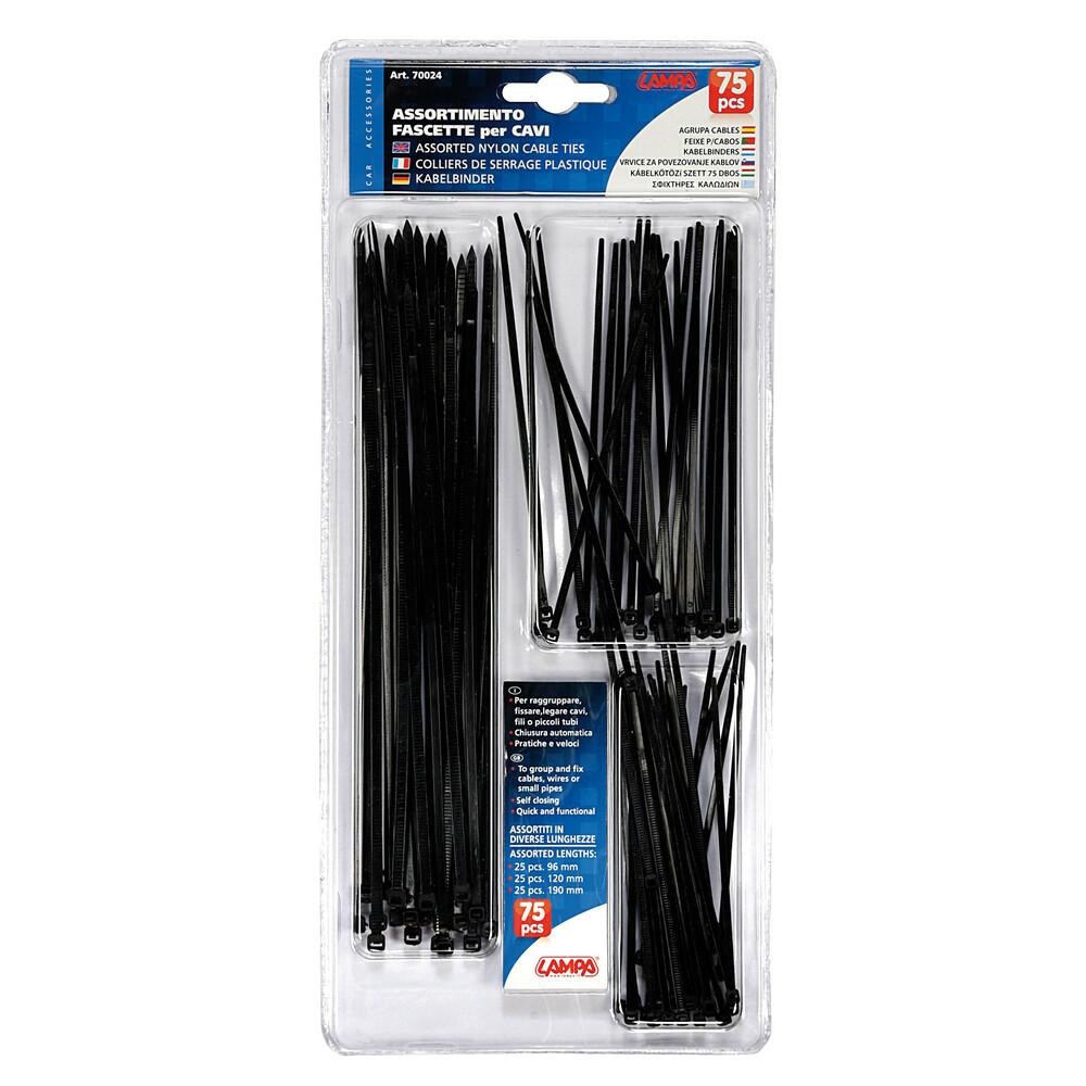 Set 75 pz fascette in nylon per cavi