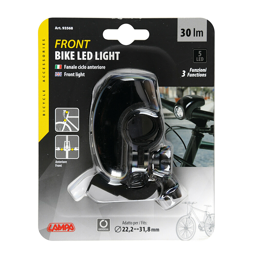 Nero 5 LED LAMPA 93568 Fanale Anteriore 3 Funzioni