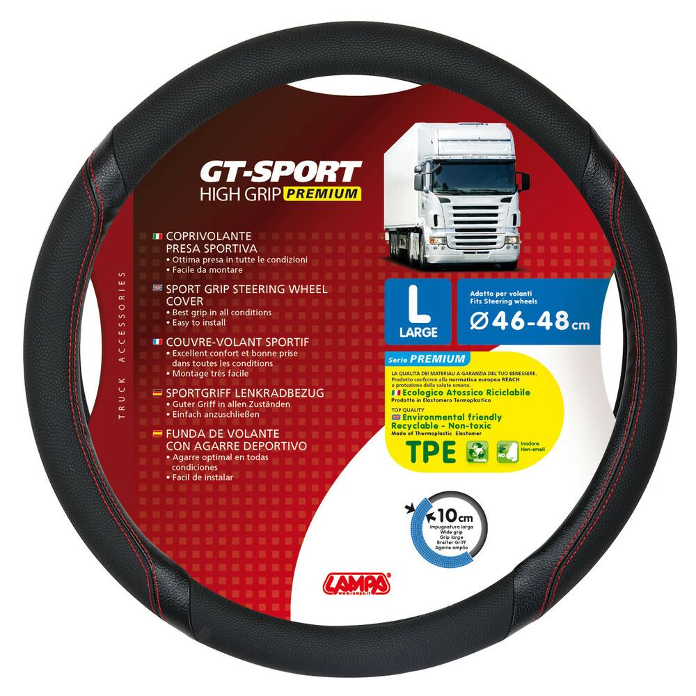 GT-Sport, coprivolante in TPE - L - Ø 46/48 cm - Nero/Rosso