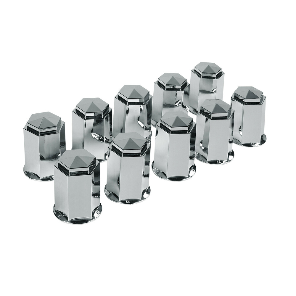 Set 10 copribulloni in ABS - Ø 32 mm - Cromo