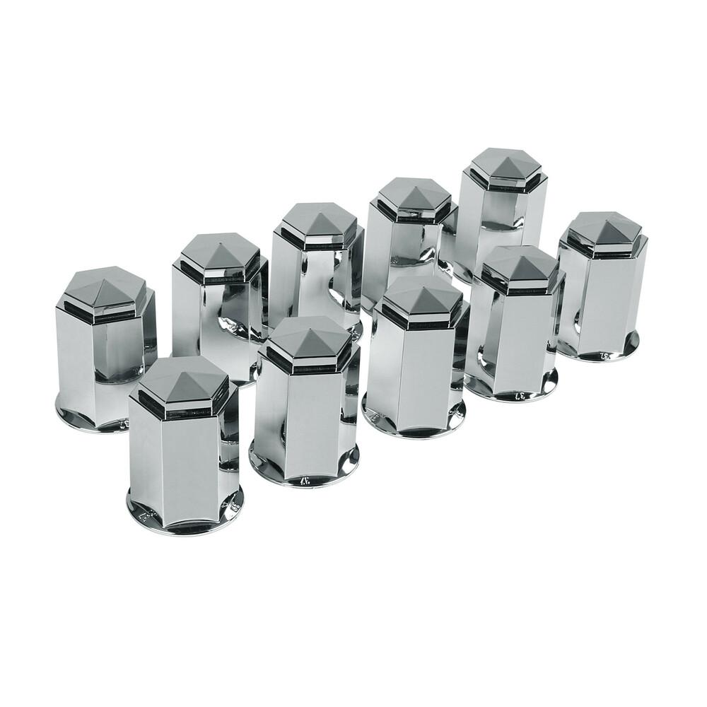 Set 10 copribulloni in ABS - Ø 33 mm - Cromo