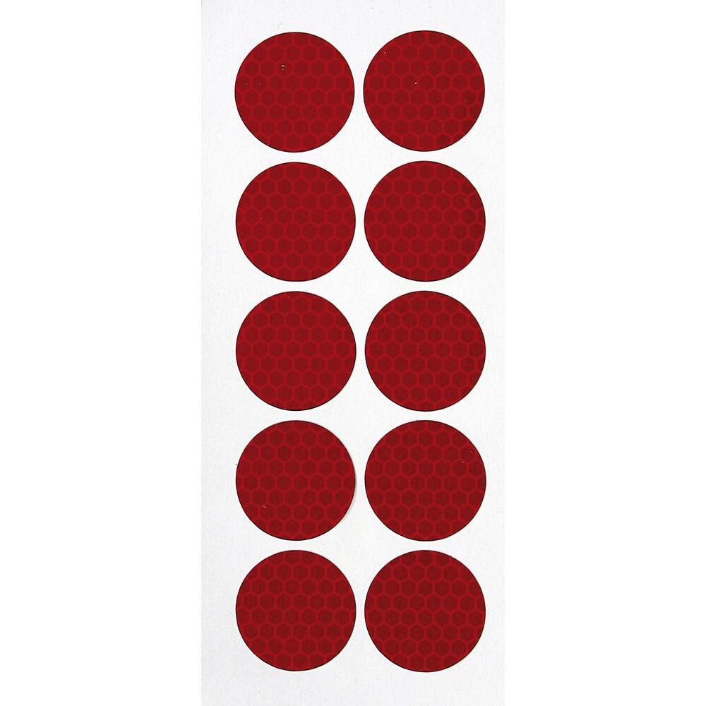 Set 10 adesivi catarifrangenti Ø 27 mm - Rosso