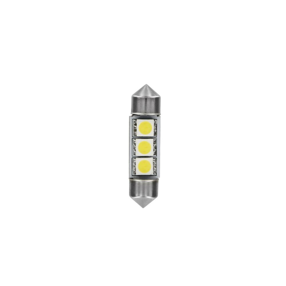 24/28V Hyper-Led 9 - 3 SMD x 3 chips - (C5W) - 10x36 mm - SV8,5-8 - 2 pz  - D/Blister - Bianco - Doppia polarità