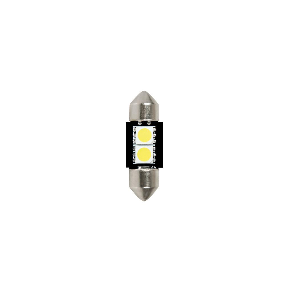 24/28V Hyper-Led 6 - 2 SMD x 3 chips - 10x31 mm - SV8,5-8 - 2 pz  - D/Blister - Bianco - Doppia polarità