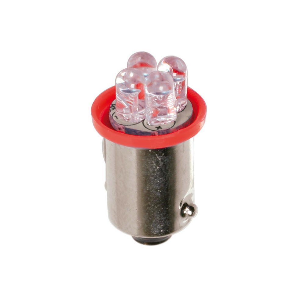 24V Micro lampada 4 Led - (T4W) - BA9s - 2 pz  - D/Blister - Rosso