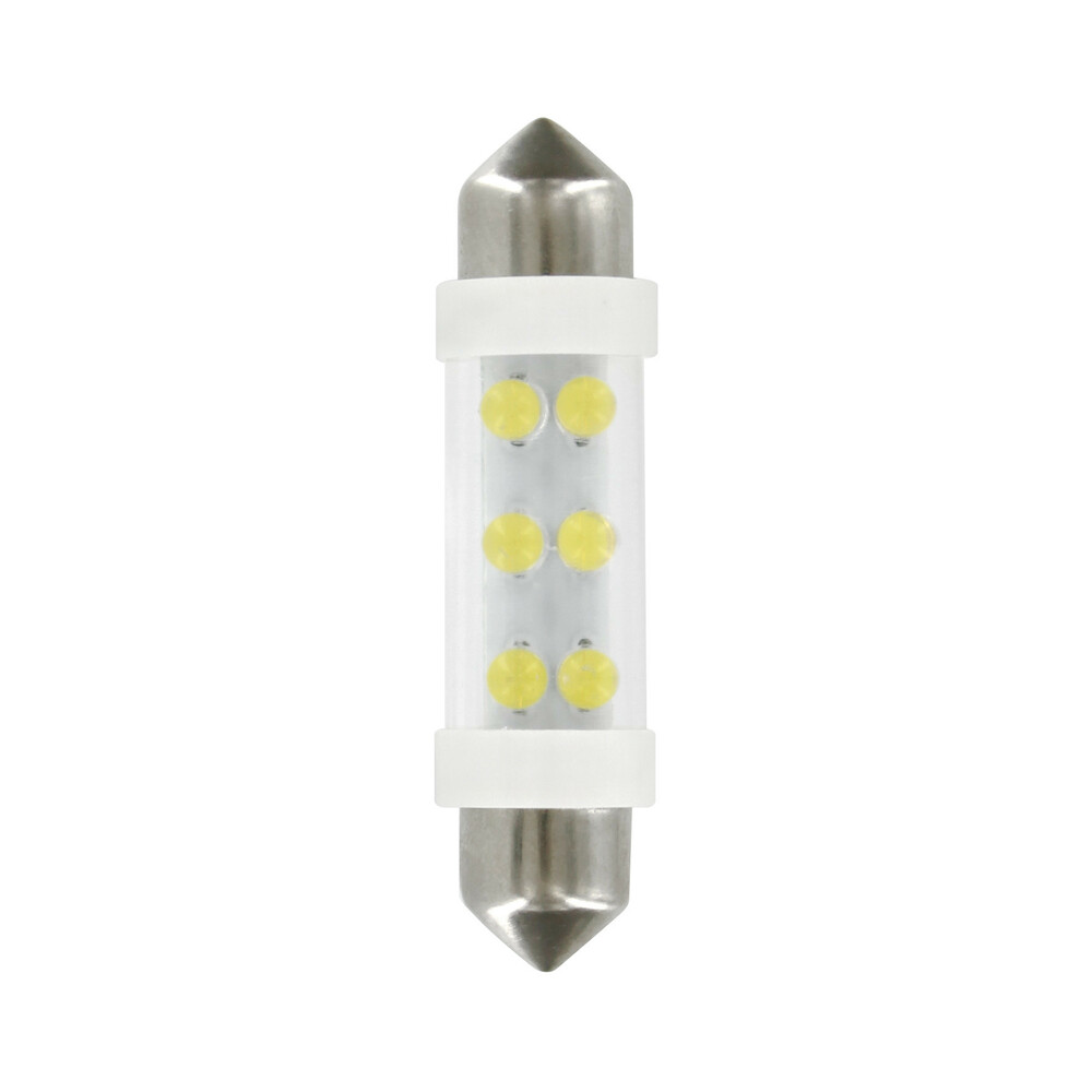 24V Lampada siluro 6 Led - 11x41 mm - SV8,5-8 - 2 pz  - D/Blister - Bianco