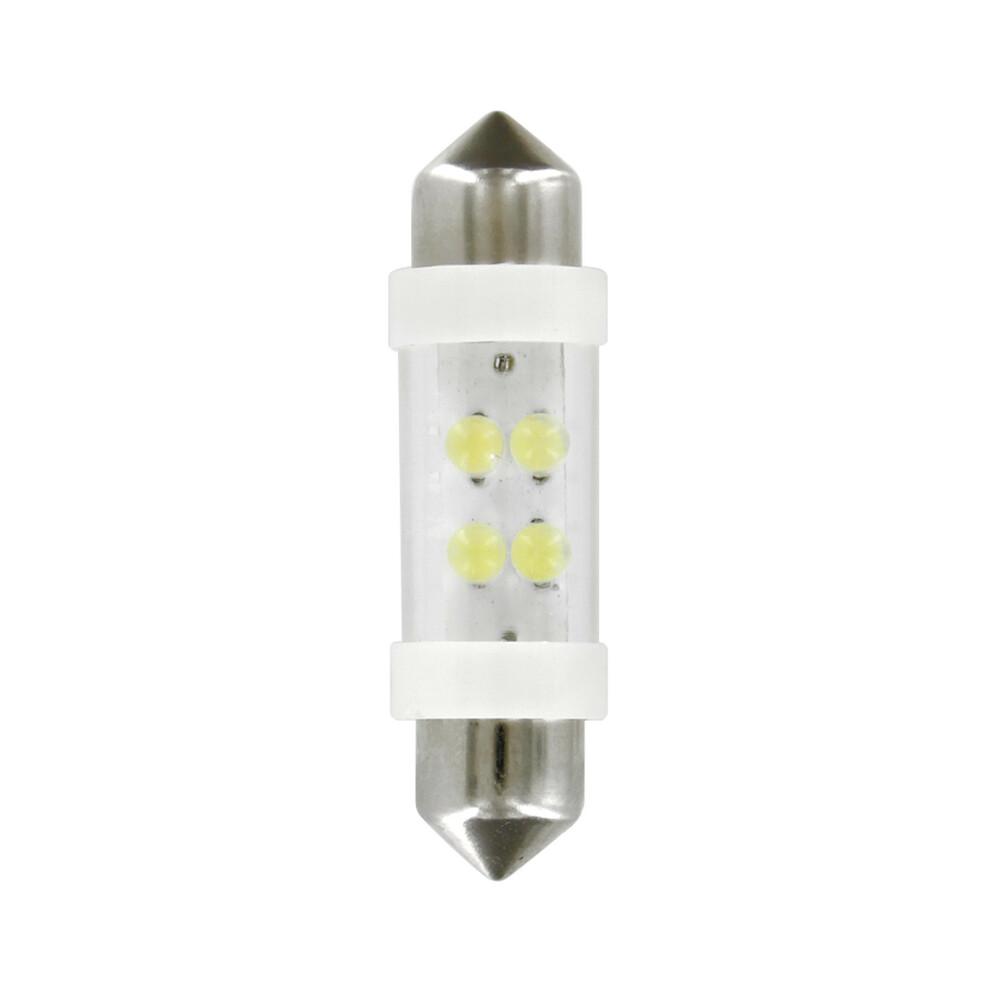 24V Lampada siluro 4 Led - 11x38 mm - SV8,5-8 - 2 pz  - D/Blister - Bianco