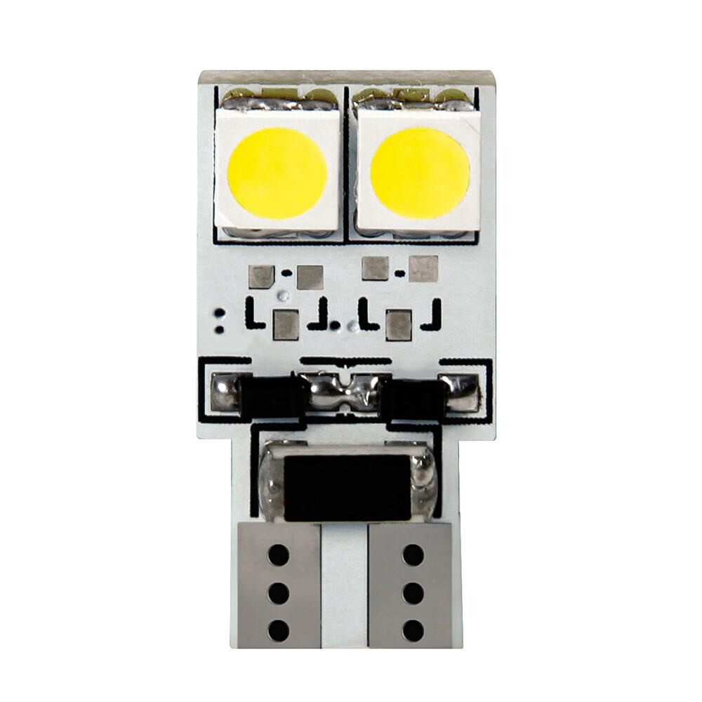 24V Hyper-Led 12 - 4 SMD x 3 chips - (T10) - Bifocus - W2,1x9,5d - 2 pz  - D/Blister - Bianco - Doppia polarità - Resistenza inc