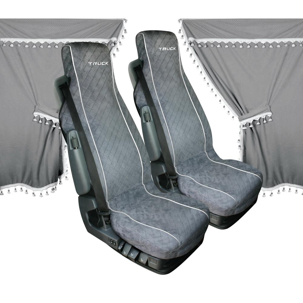 Melissa, set tende e coprisedili in microfibra per camion - Grigio