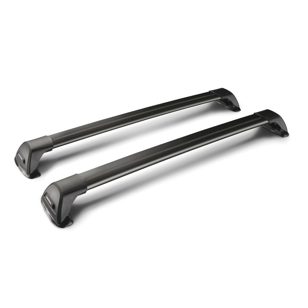 Flush Black, pair of telescopic aluminium roof bars - 120 cm