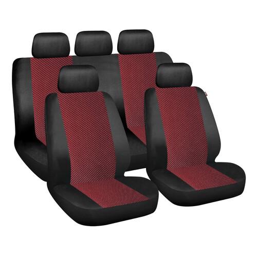 Vw Ford Opel Coprisedili Rosso e Nero Bicolore Tessuto Salva Sedili Coppia