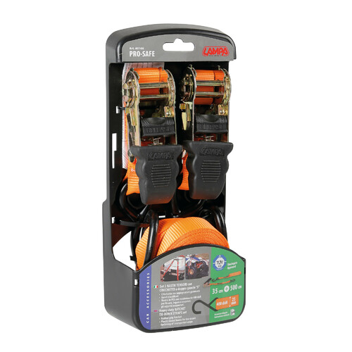 Pro-Safe, heavy duty ratchet tie-down straps set - 500 cm 2