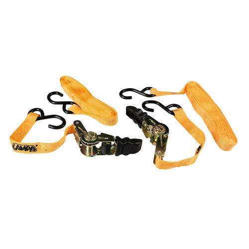 Pro-Safe, heavy duty ratchet tie-down straps set - 500 cm