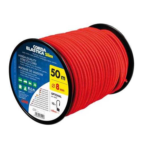 High-quality stretch cord - Ø 8 mm - 50 m - Red