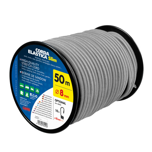 Corda elastica in bobina - Ø 8 mm - 50 m - Grigio
