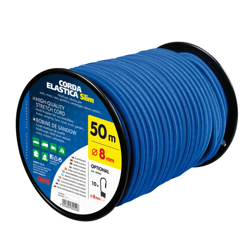 Corda elastica in bobina - Ø 8 mm - 50 m - Blu