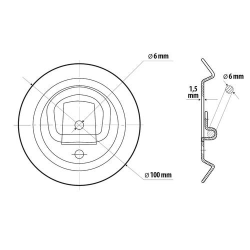 G-1, steel round mount rings, 2 pcs 4