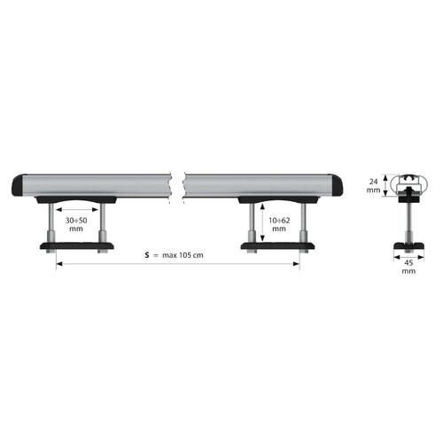 Kuma, aluminium roof bars, 2 pcs - S - 112 cm 8