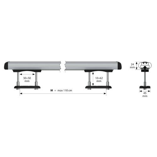 Kuma, coppia barre portatutto in alluminio - M - 122 cm 3