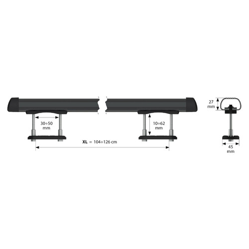 Club, steel roof bars, 2 pcs - XL - 135 cm 3