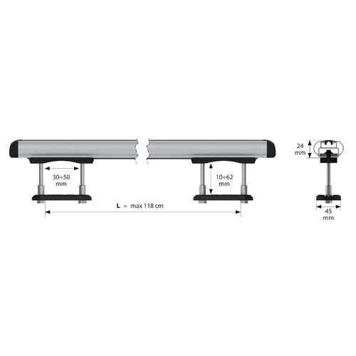 Kuma, coppia barre portatutto in alluminio - L - 129 cm 3