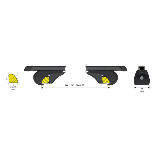 Rail-Top, coppia barre portatutto in acciaio - XL - 140 cm 3