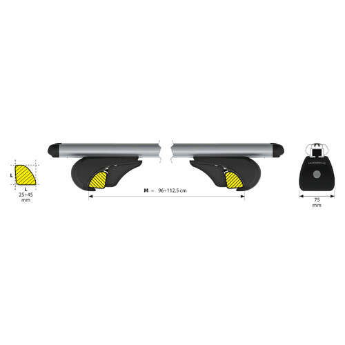 Rail-Pro, aluminium roof bars, 2 pcs - M - 120 cm 3